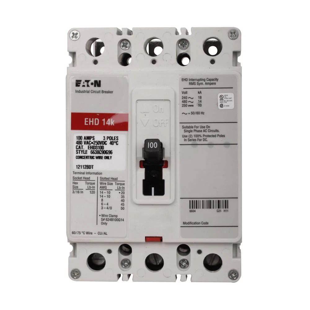 hight resolution of ehd3100l eaton cutler hammer 100 amp 3 pole 480 volt molded case circuit breaker