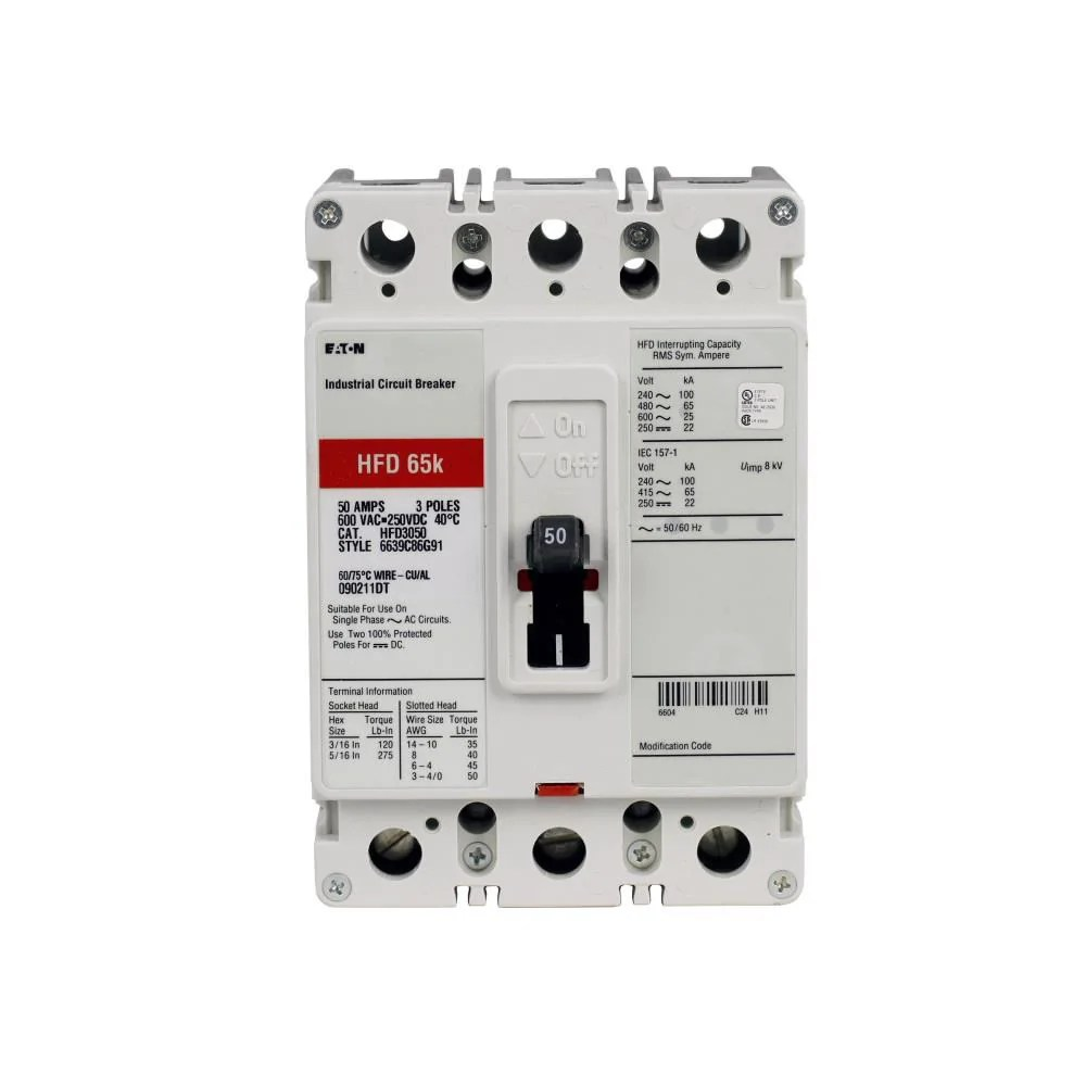 hight resolution of hfd3100l eaton cutler hammer 100 amp 3 pole 600 volt molded case circuit breaker