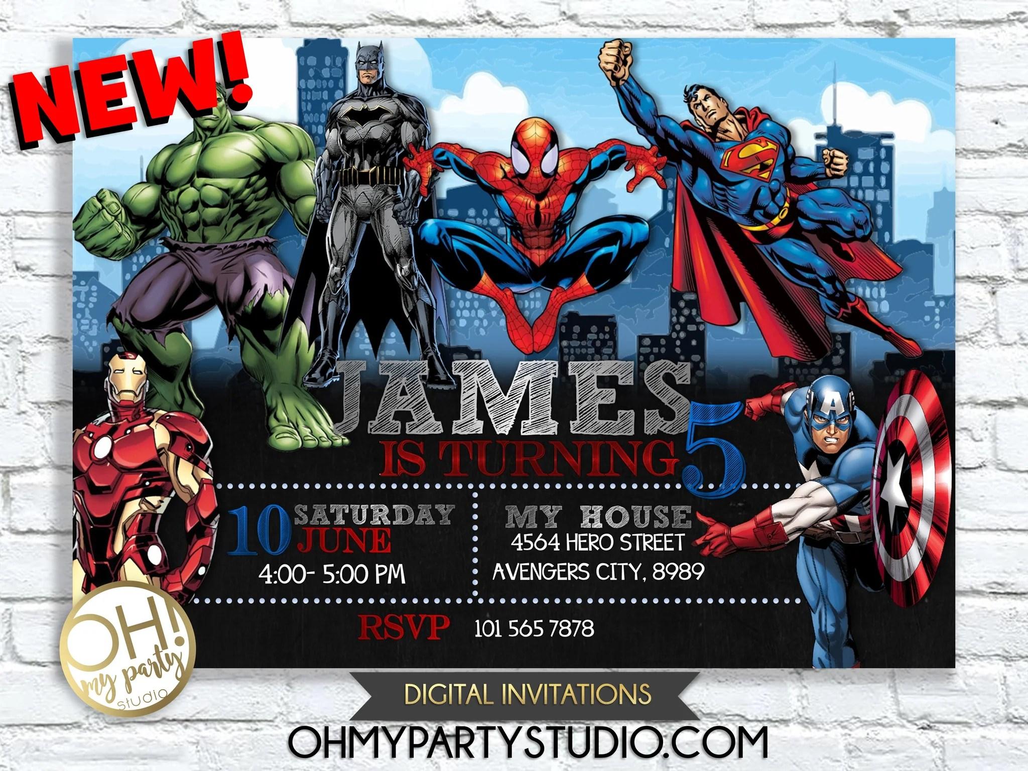 superheroes birthday party invitation