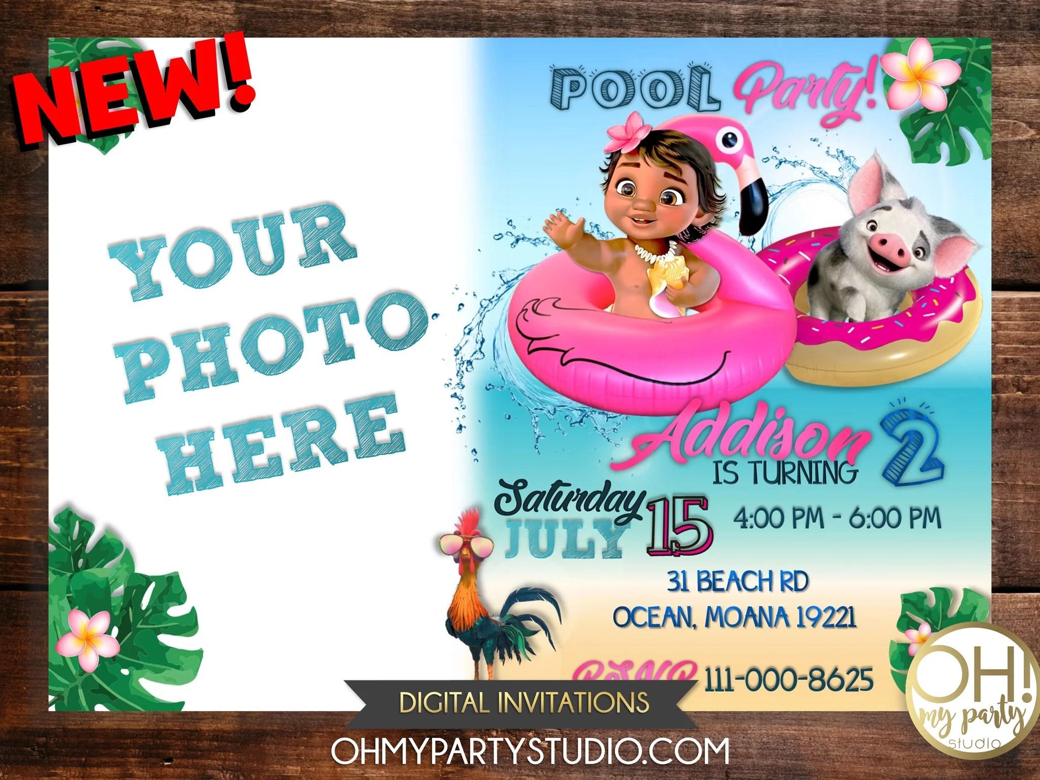 baby moana birthday party invitation with photo