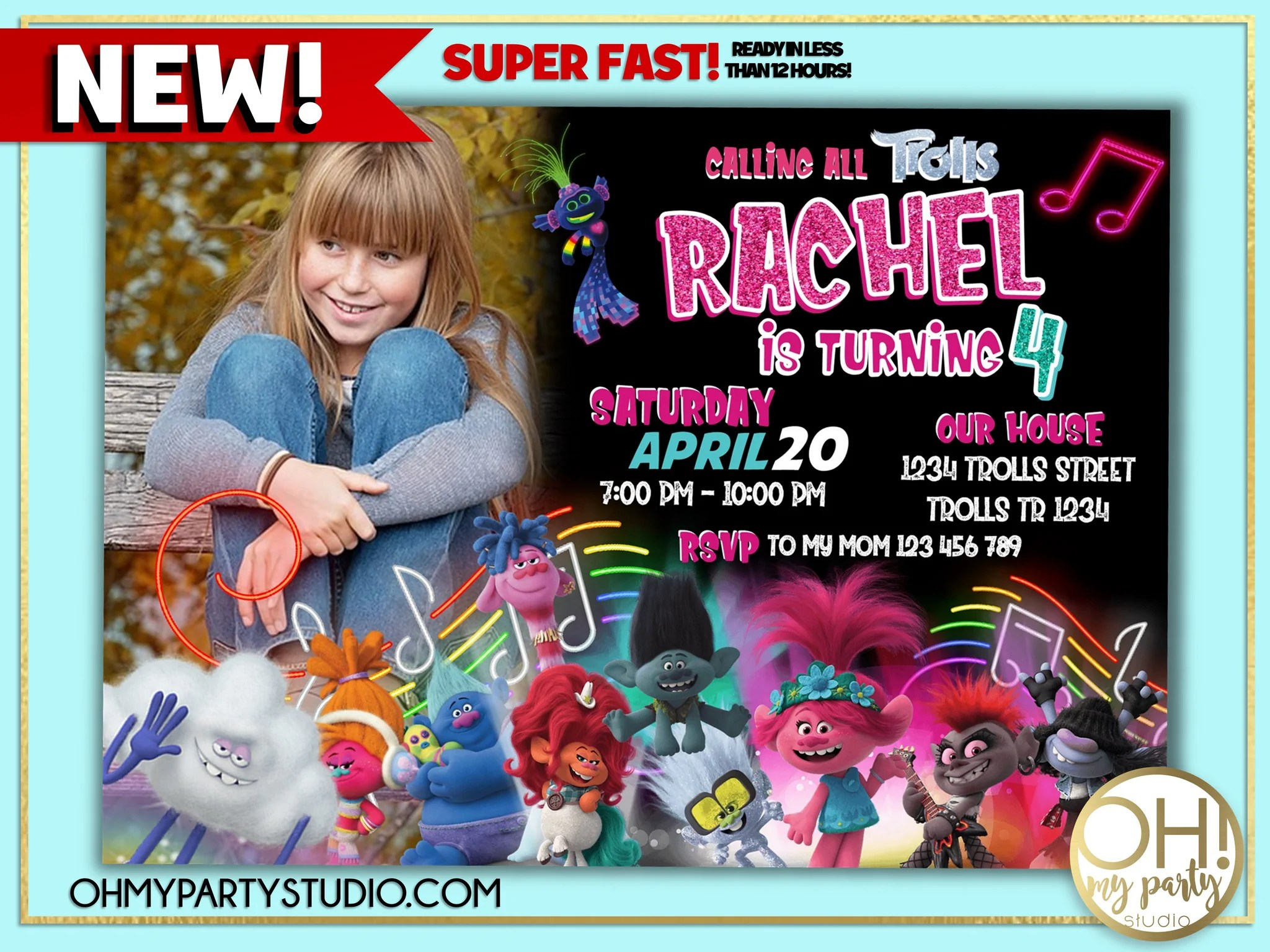 trolls 2 birthday invitation with picture