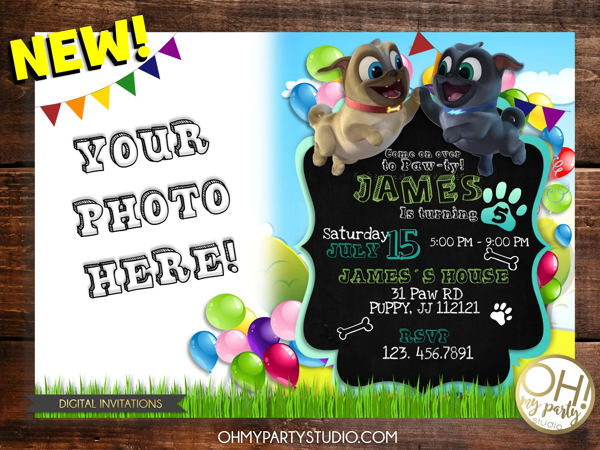 puppy dogs pals birthday party invitation with photo
