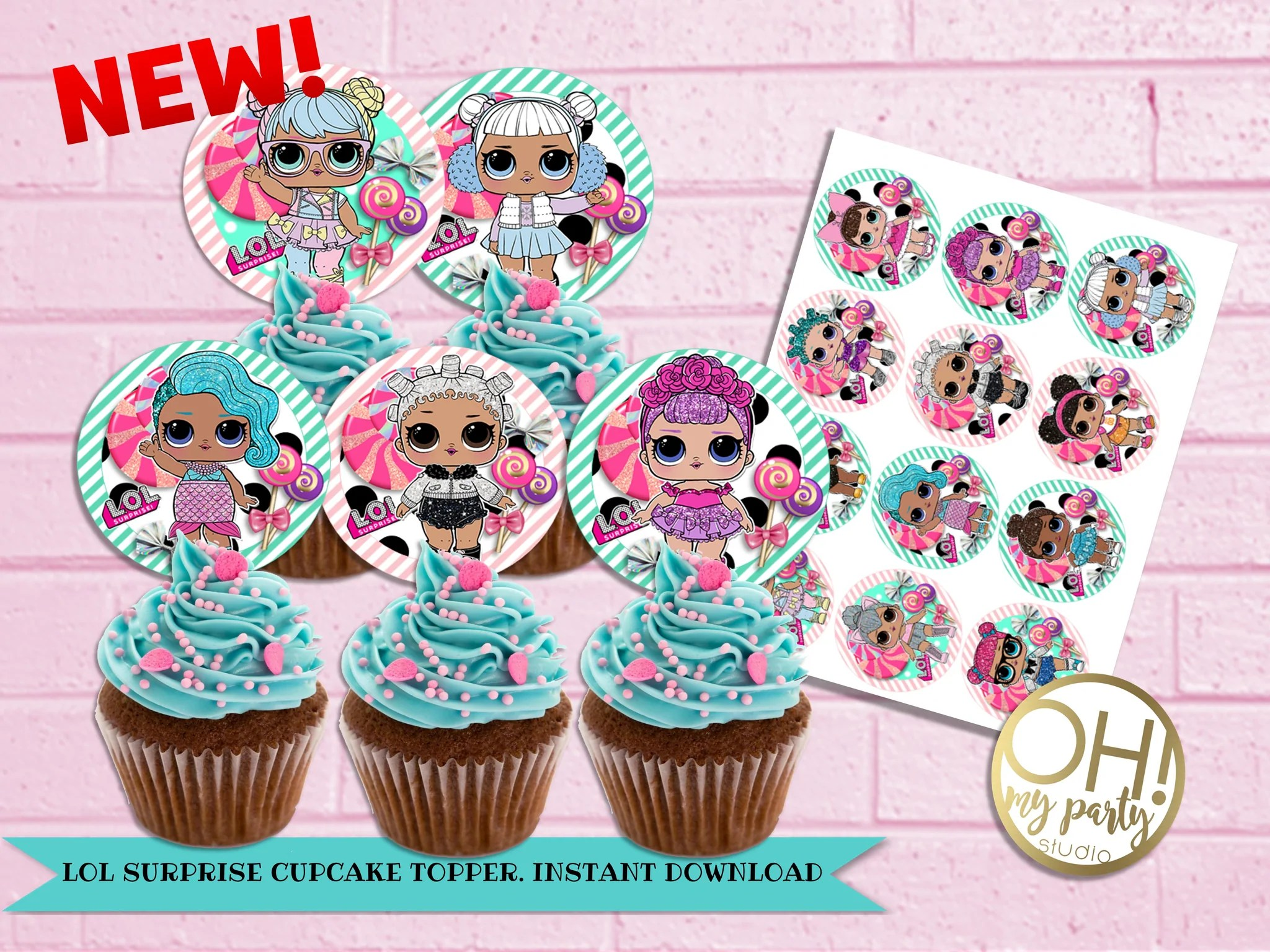 Lol Dolls Cupcake Toppers Instant Download Oh My Party Studio