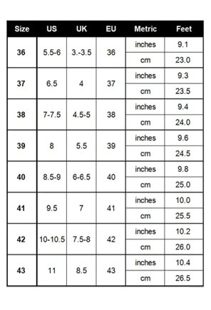 Dr Home™ - Three Color Posture Sandals Size Chart