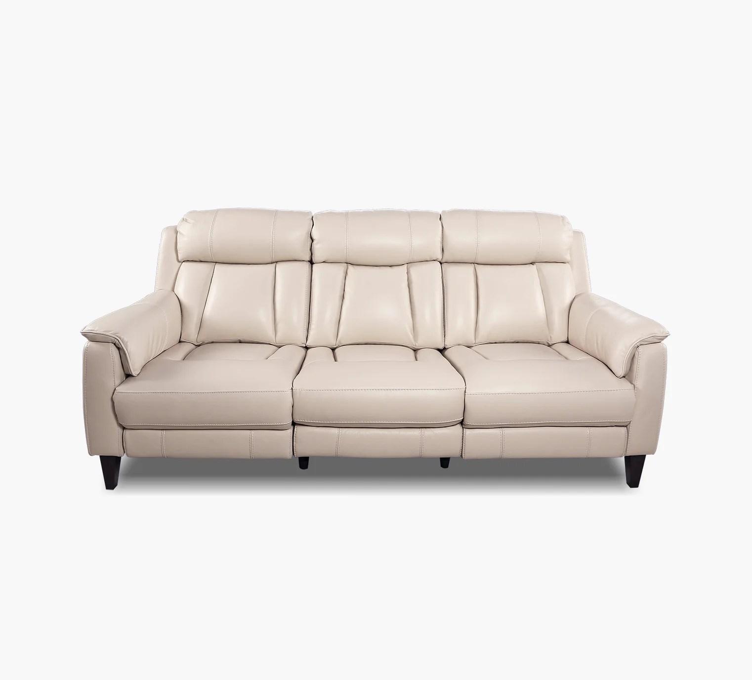 everett ivory leather dual power reclining sofa