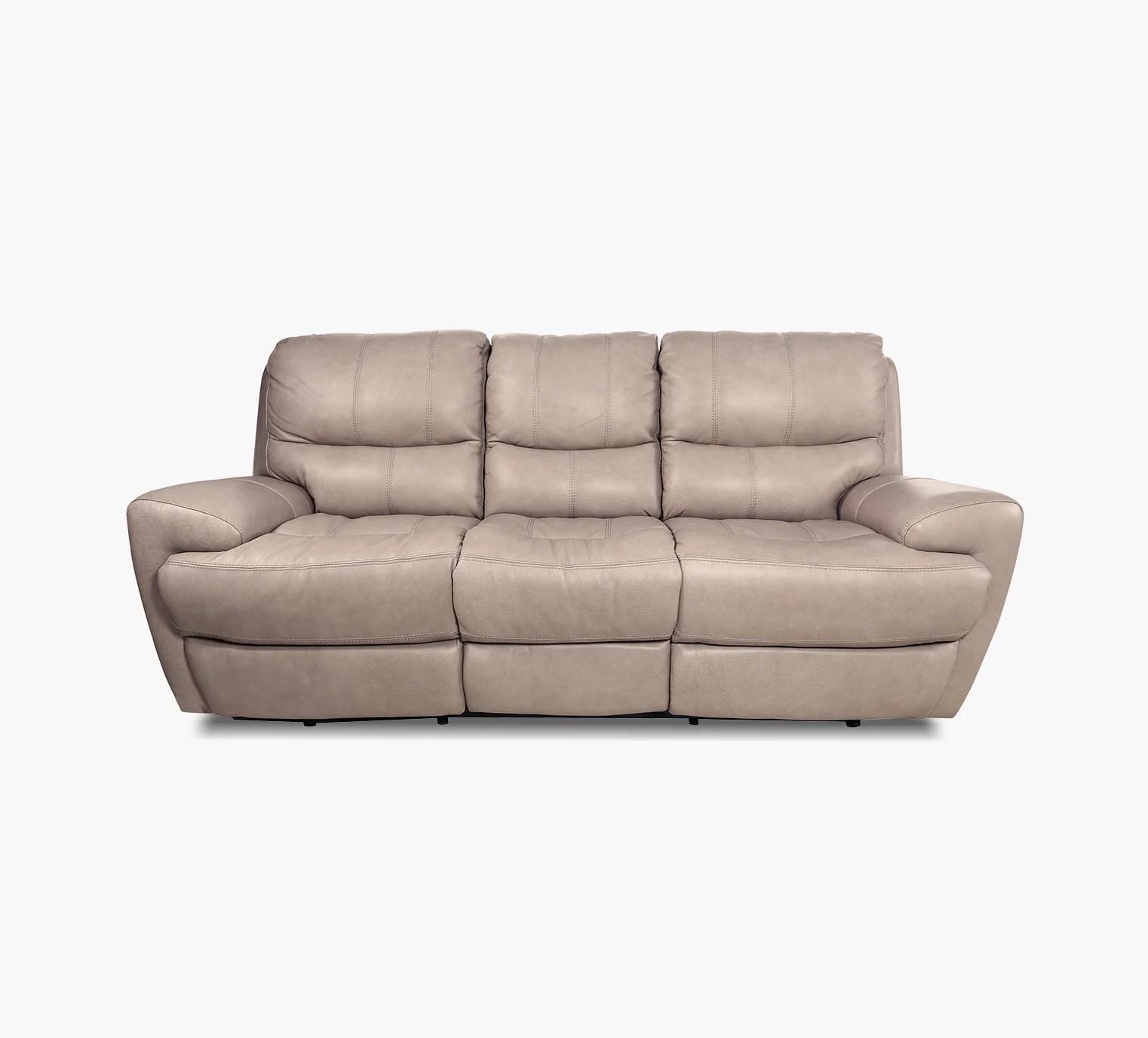 Iris Pebble Leather Power Reclining Sofa With Power Headrest