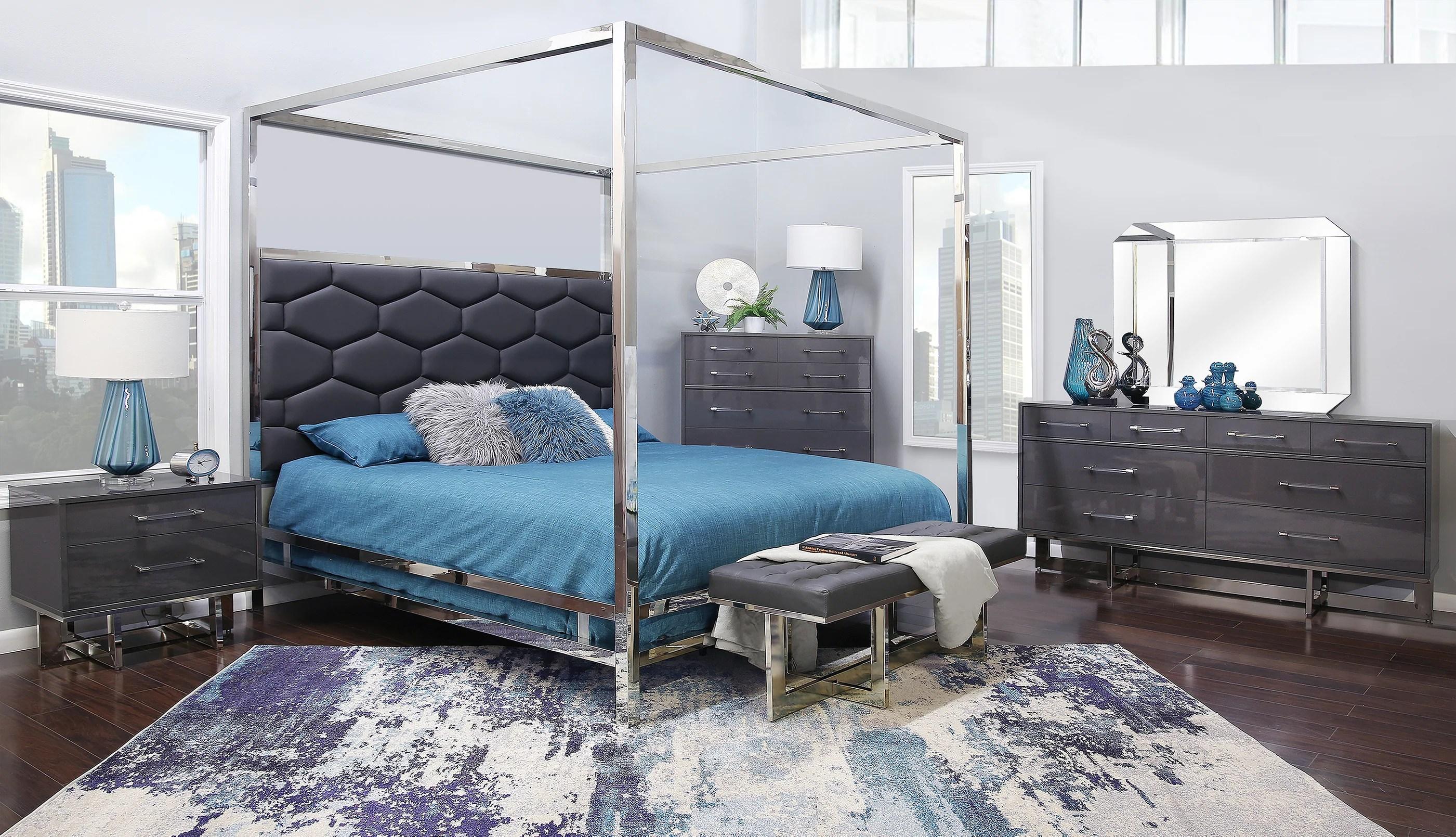 dante graphite 5 piece king canopy bedroom
