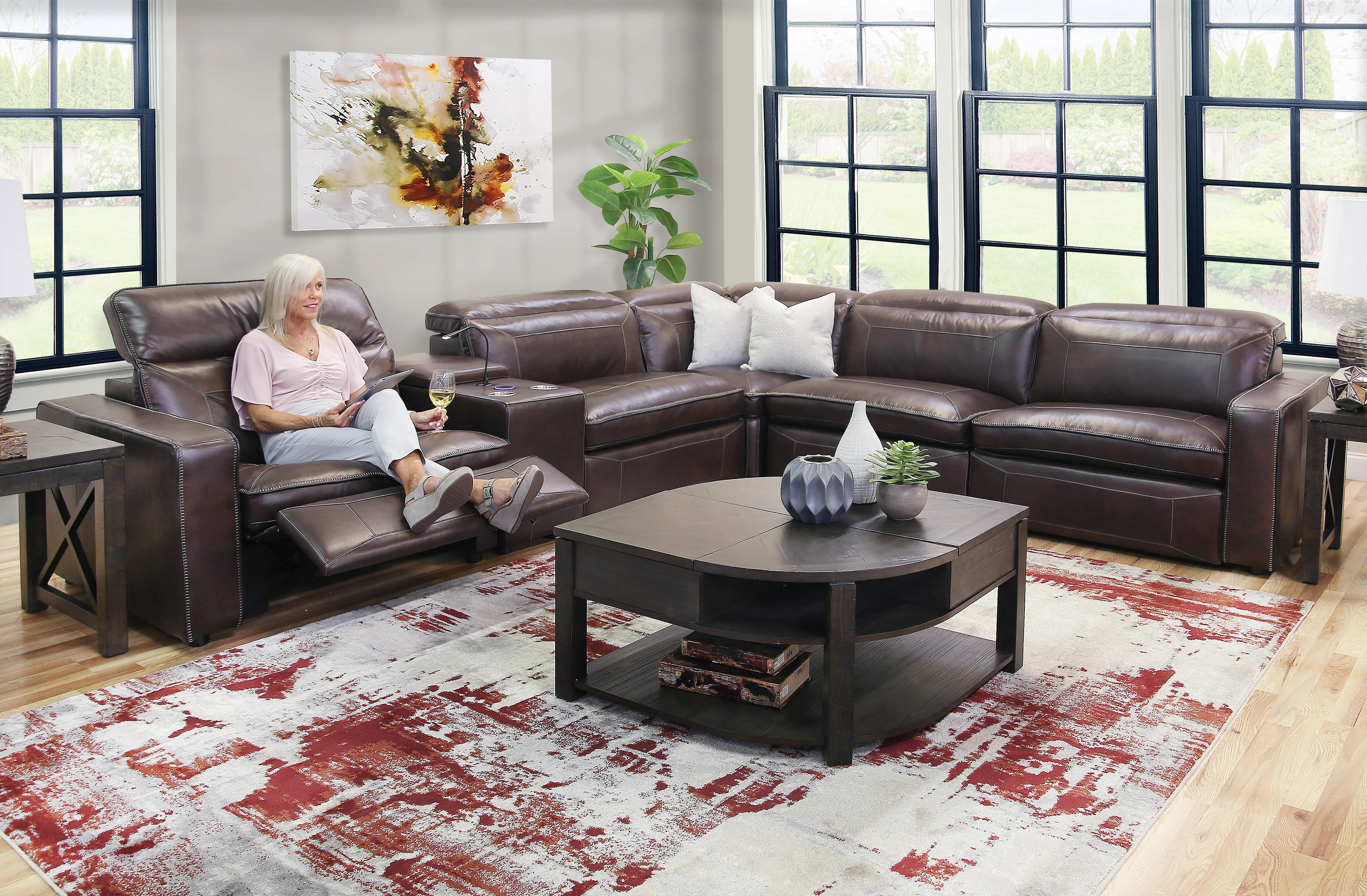 dorado 5 piece leather power reclining sectional sofa
