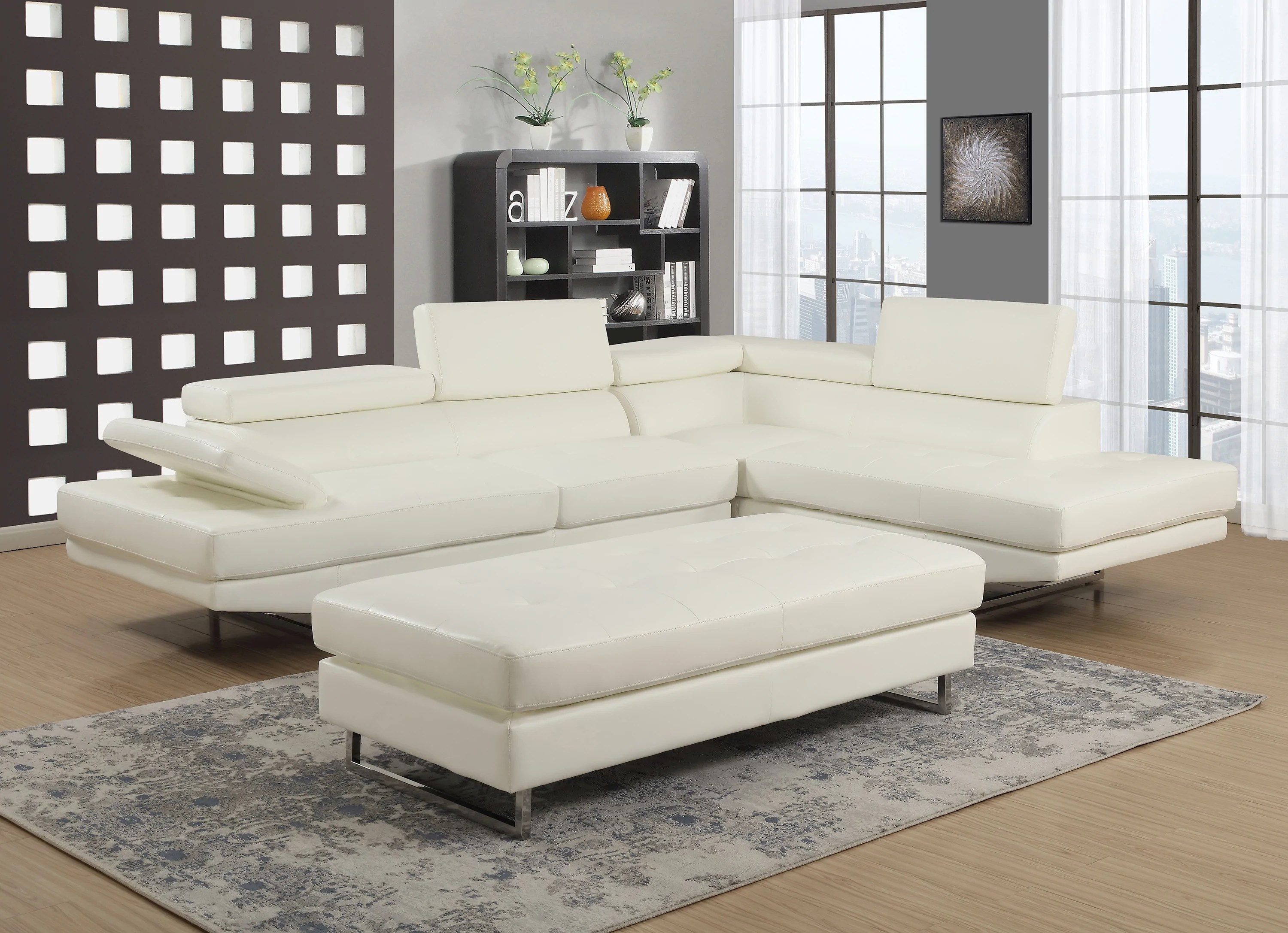 giovanni white 2 piece sectional sofa
