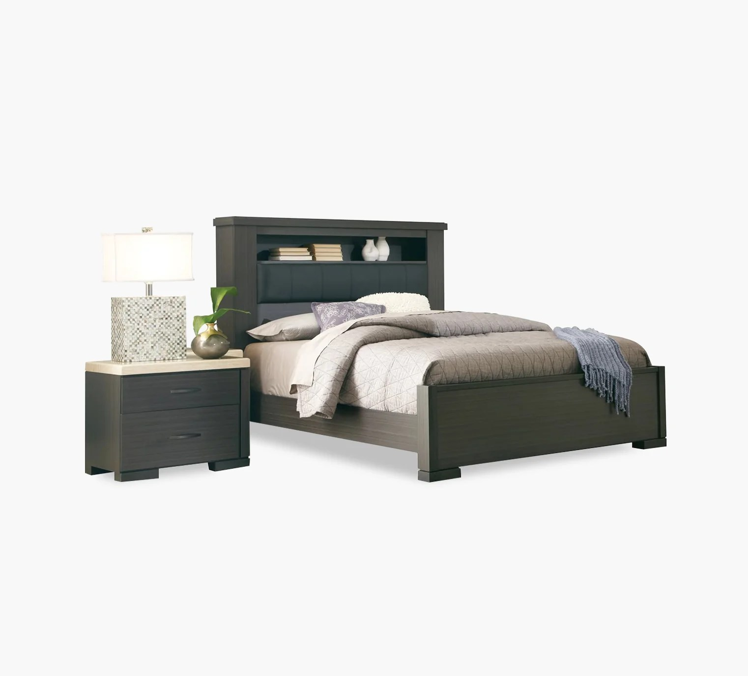 Motivo Charcoal Queen Bookcase Bed Kane S Furniture