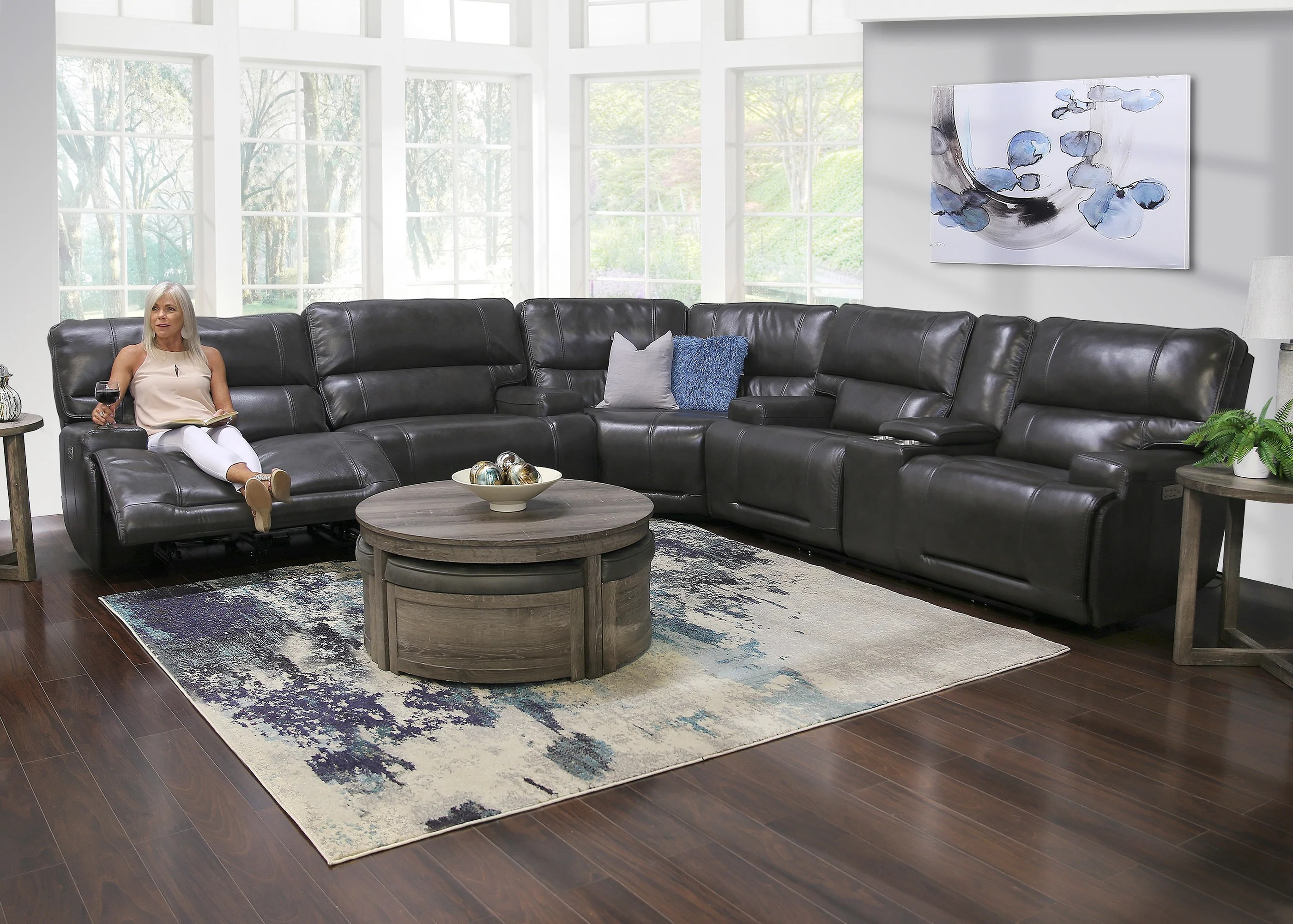 nova 3 piece leather triple power reclining sectional sofa
