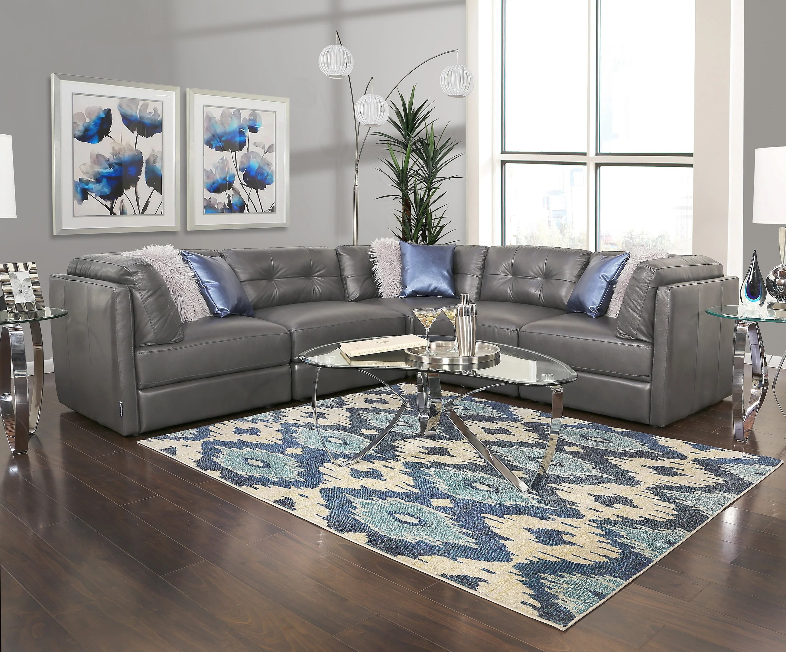 oakley grey 5 piece leather sectional sofa
