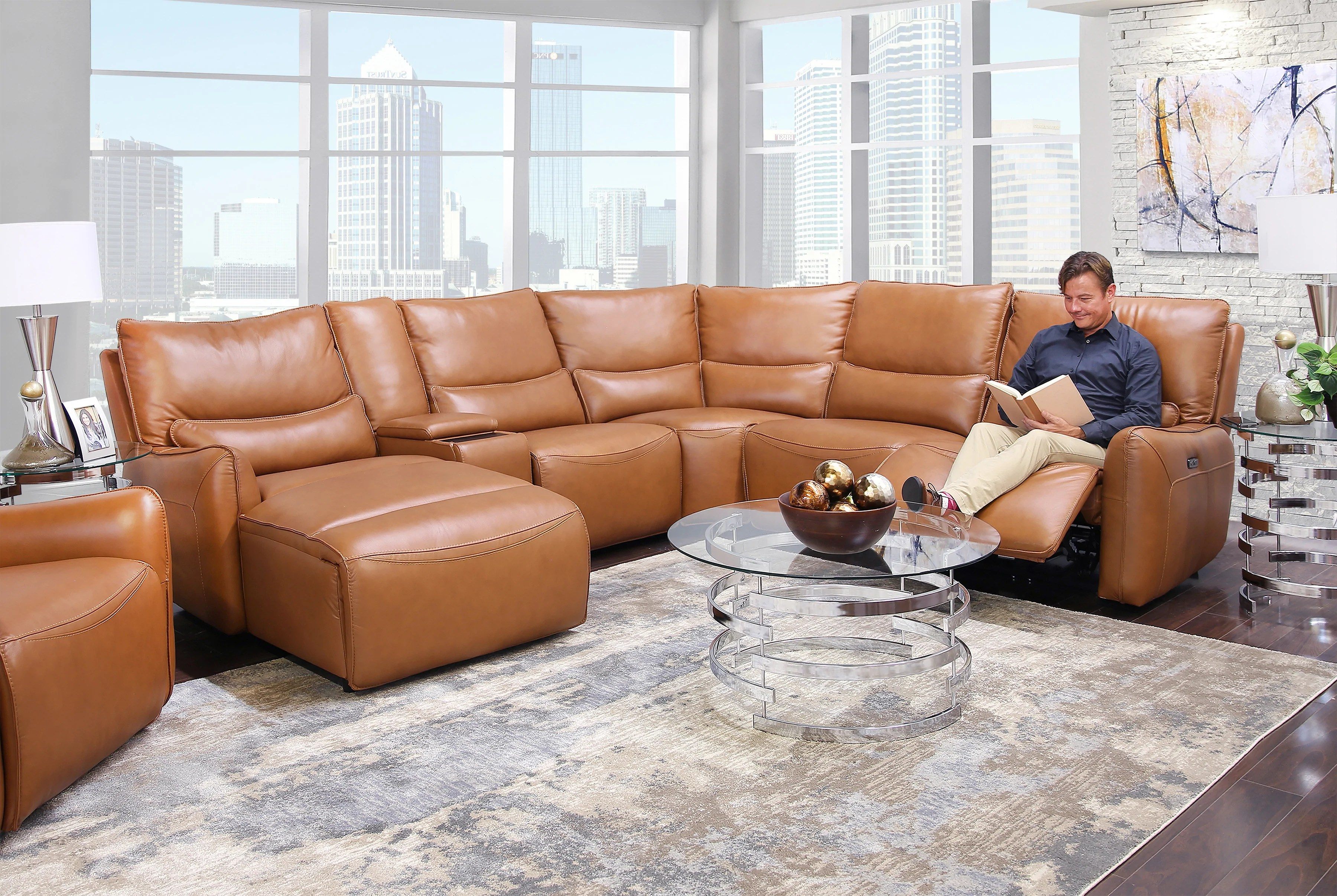 senna camel 6 piece leather dual power reclining sectional