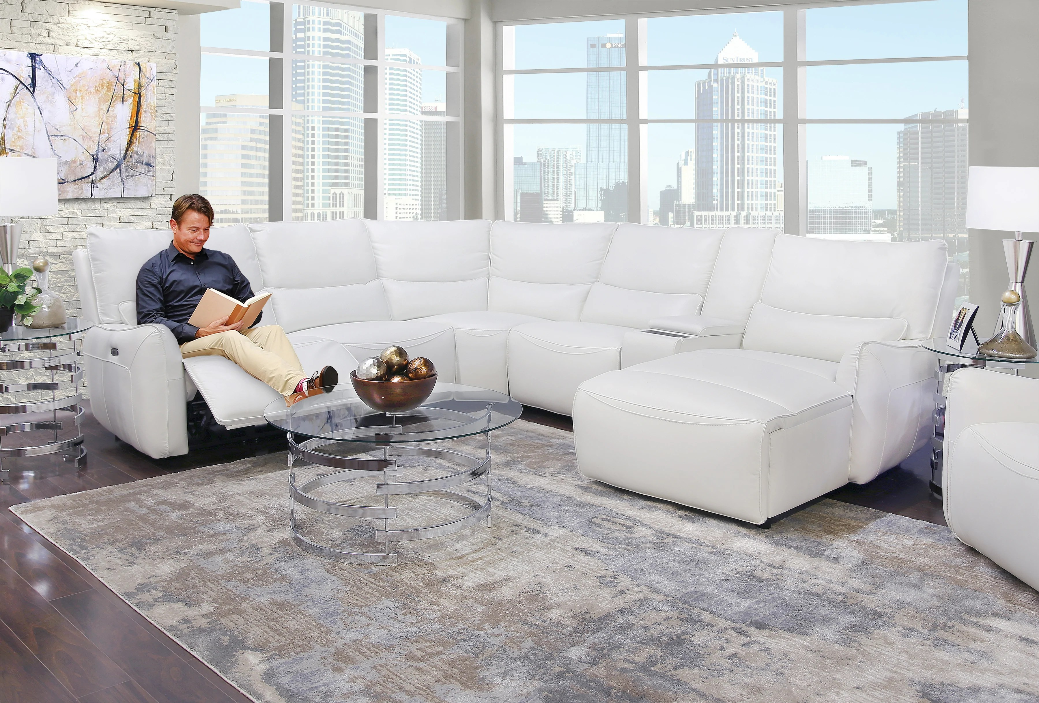 senna white 6 piece leather dual power reclining sectional