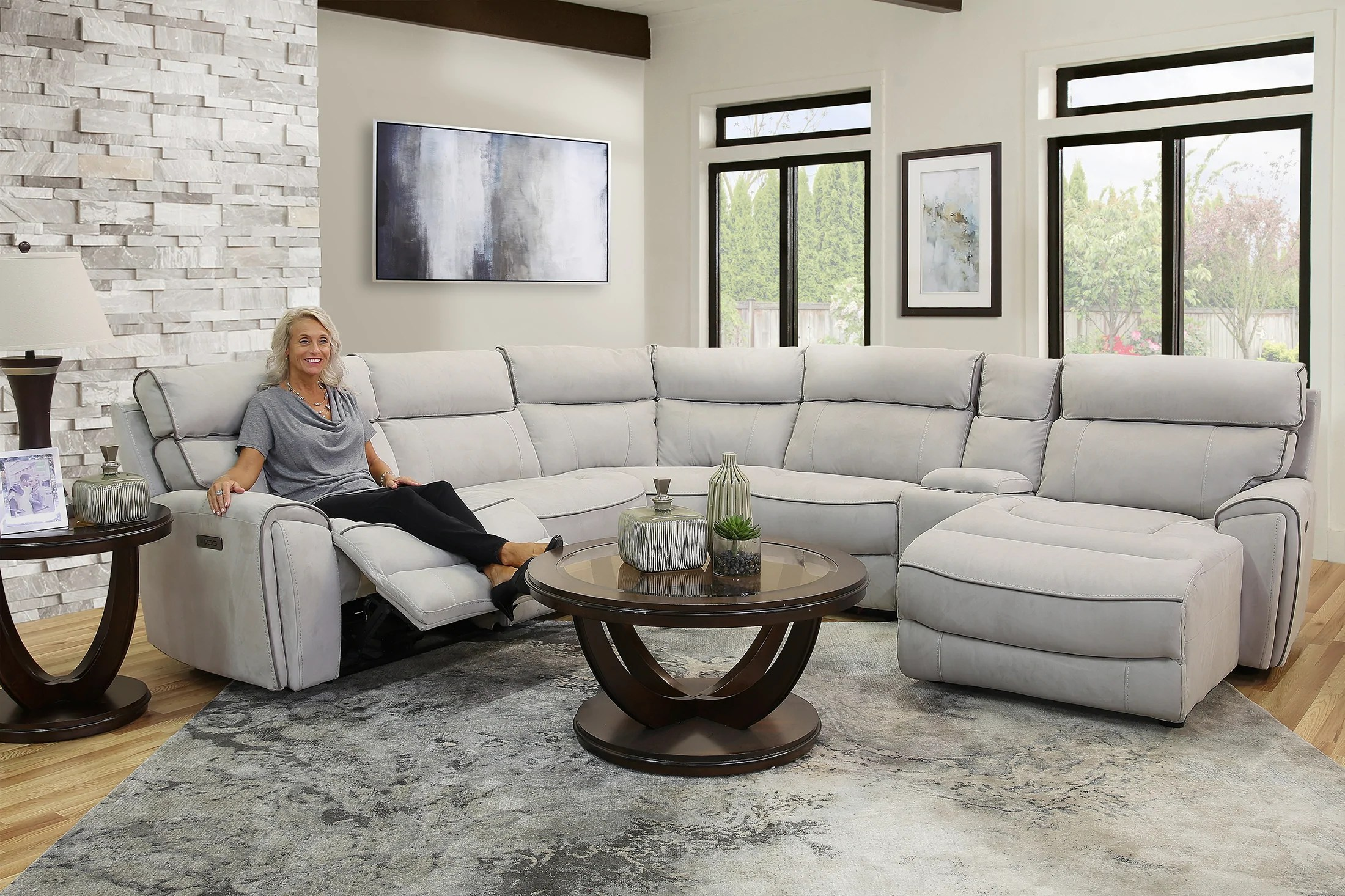 winston 6 piece power reclining sectional sofa with raf chaise