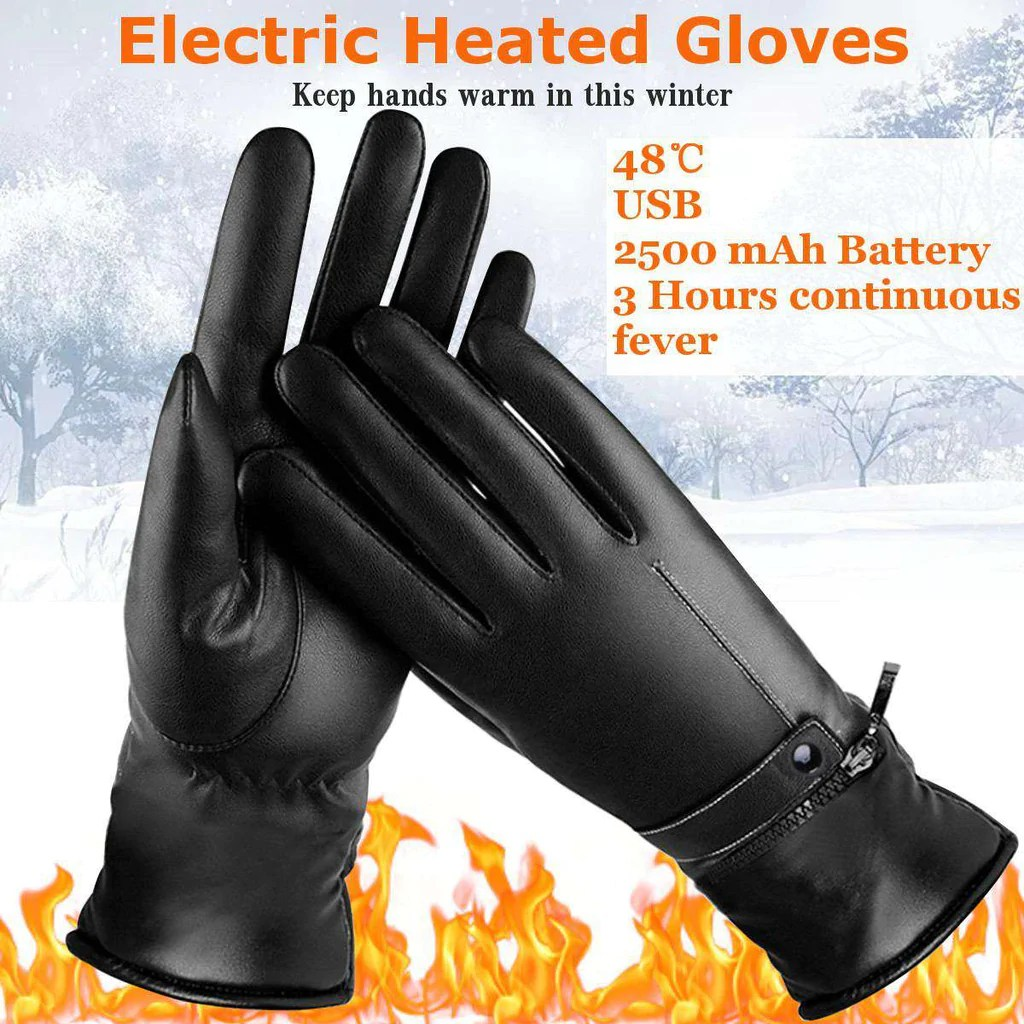 woman leather electric heated gloves [ 1024 x 1024 Pixel ]