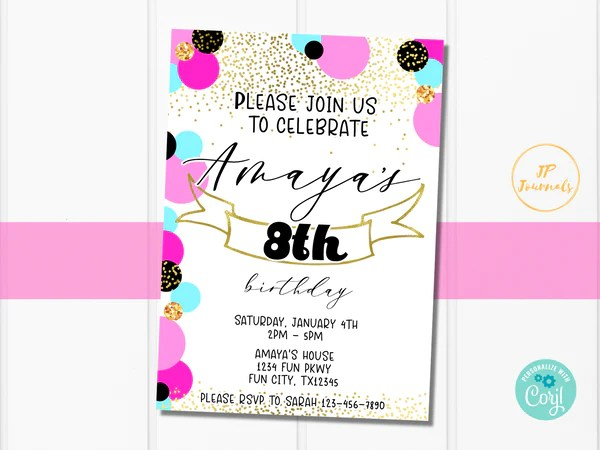 printable girl birthday party invitation template edit online print at home pink gold teal black