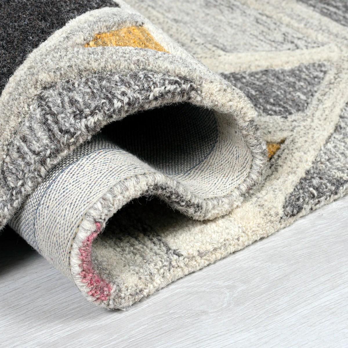 Grey Yellow Orange Rug Geometric Pattern Carpet Modern Wool Rug Bedroom Area Mat