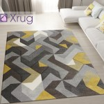 Modern Rug Mustard Grey Yellow Hand Carved Pattern Mat Geometric Bedro Xrugs