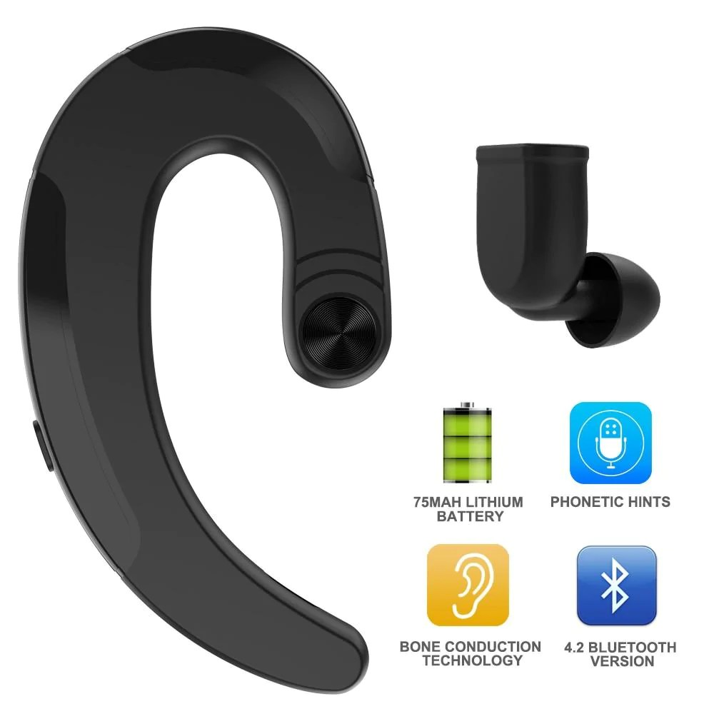 bone conduction bluetooth earphone with mic tap to expand [ 1000 x 1000 Pixel ]
