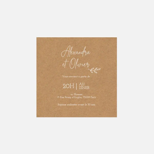 carton invitation de mariage champetre kraft