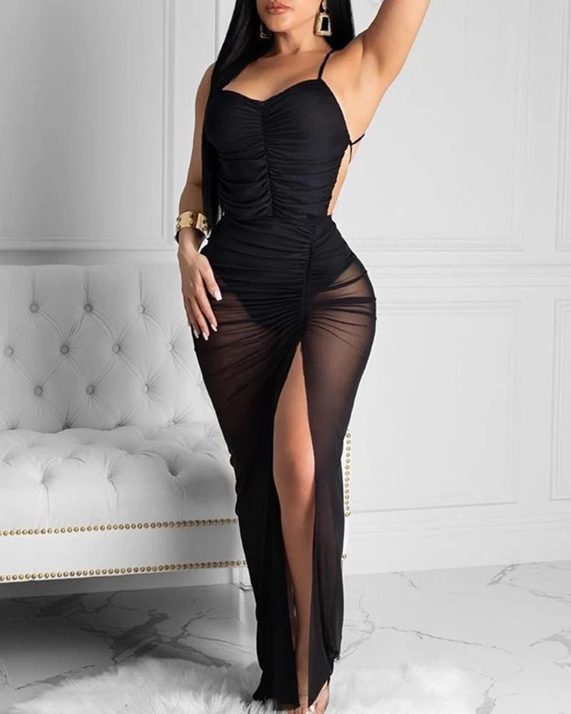 Spaghetti Strap Ruched Slit Backless Party Dress 9