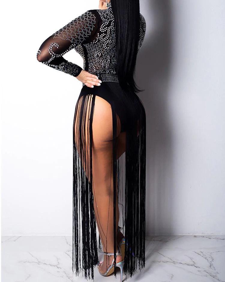 Hot Stamping Sheer Mesh Tassel Party Dress