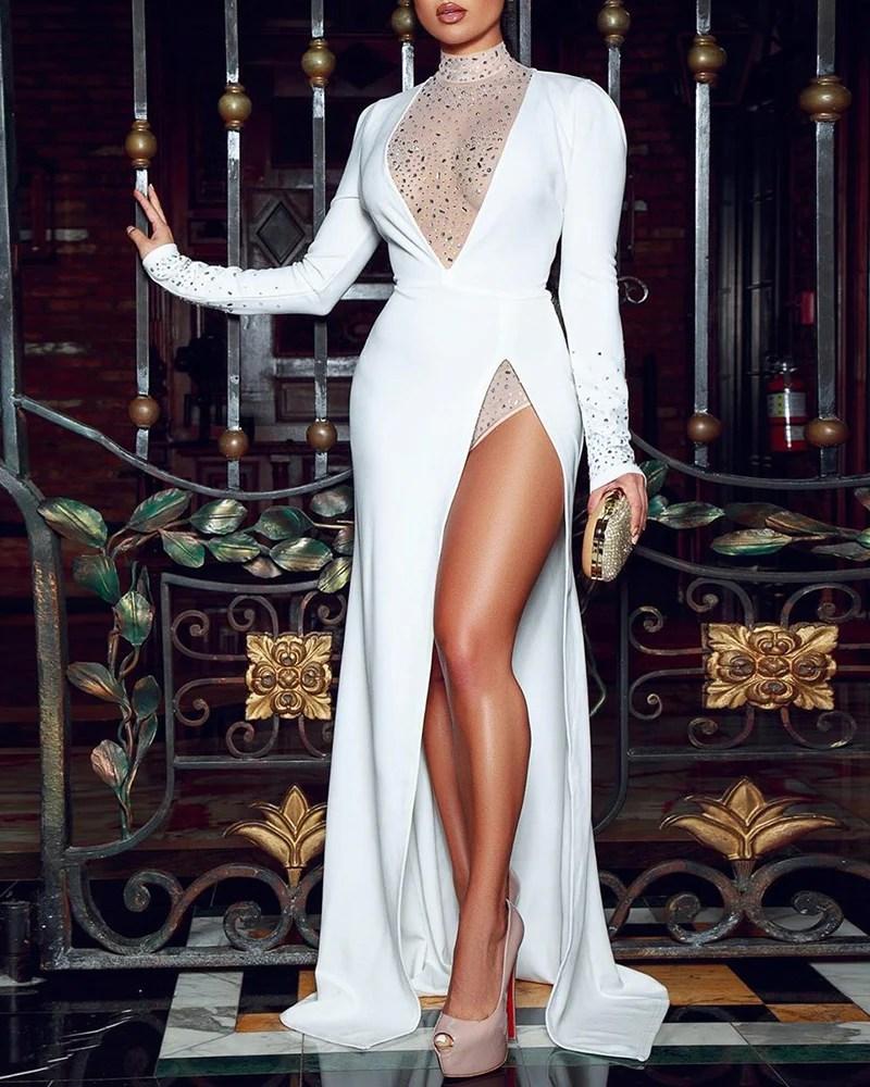 Hot Stamping Mock Neck Bodysuit & High Slit Dress Sets 1