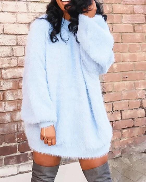 Solid Long Sleeve Longline Sweater 8