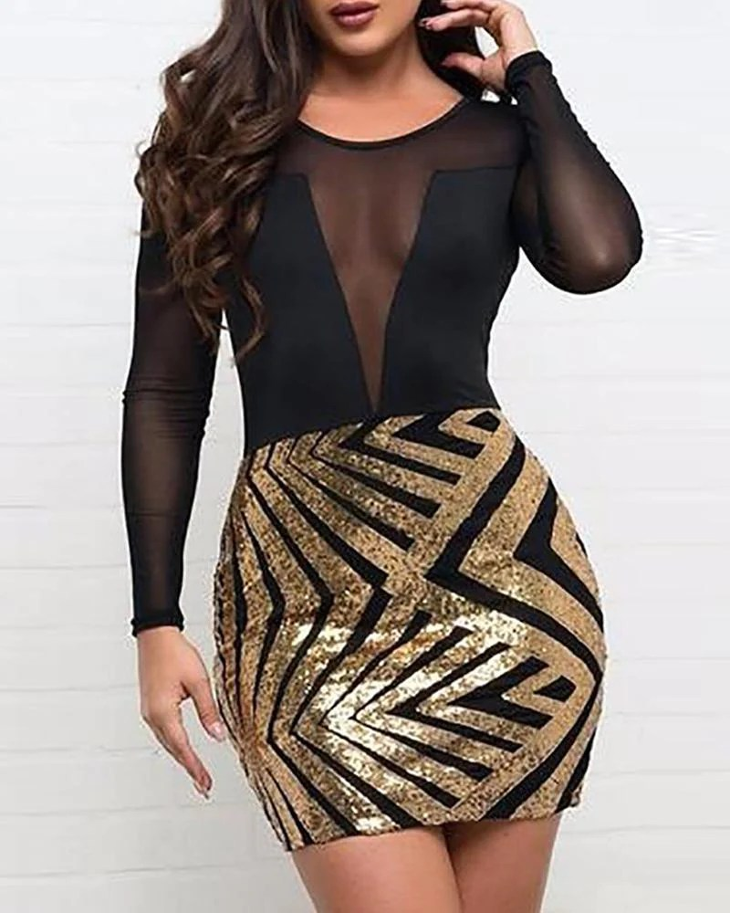 Mesh Sequined Bodycon Mini Dress 11