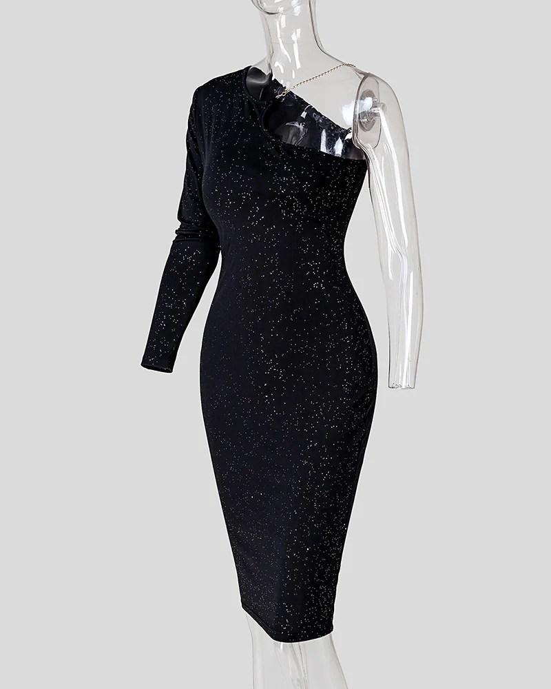 Glittering One Shoulder Midi Dress