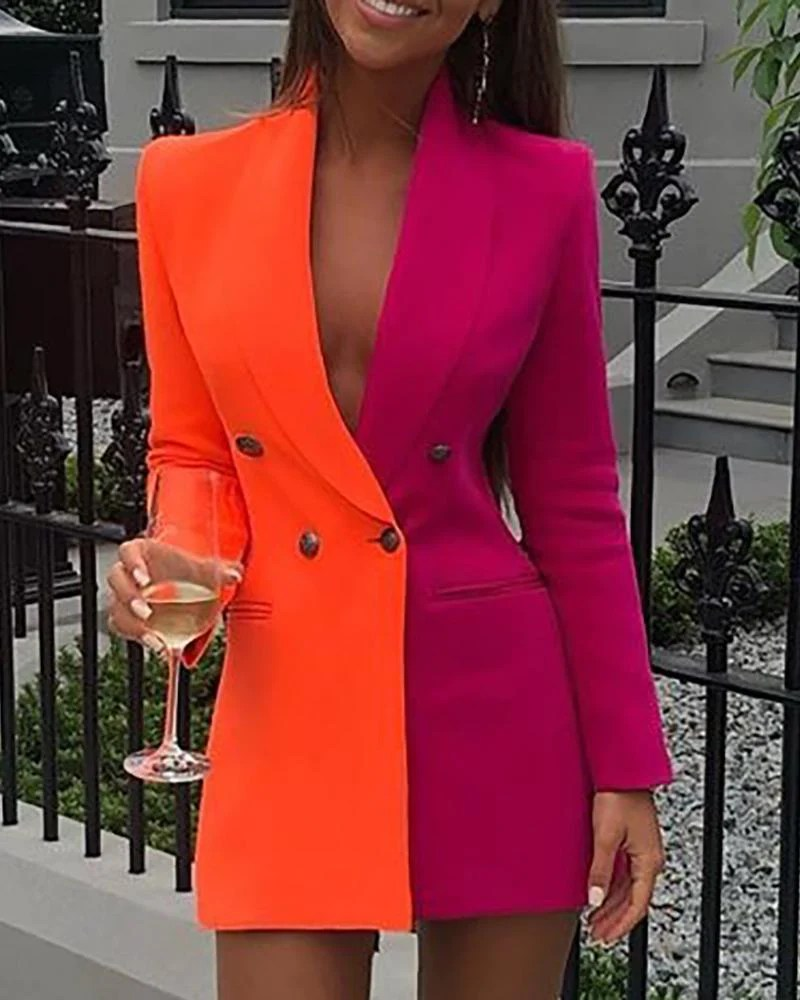Colorblock Patchwork Long Sleeve Blazer Dress 1