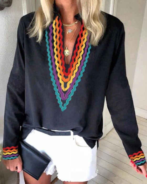 Ethnic Colorblock Long Sleeve Casual Blouse 3
