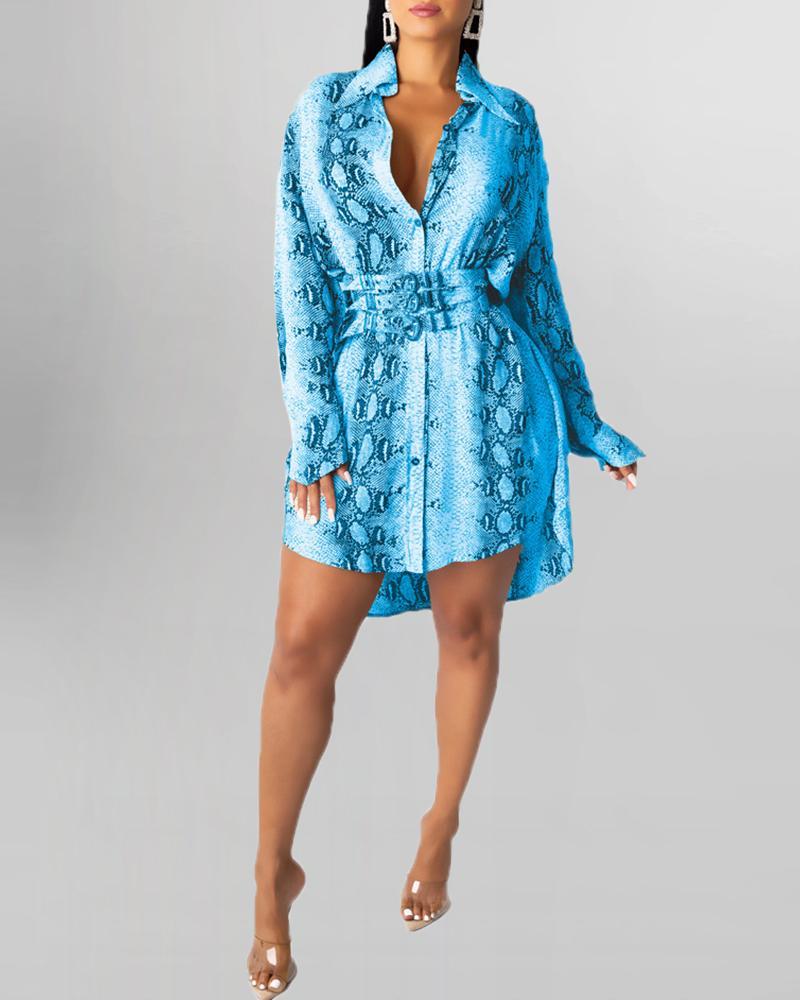 Snakeskin Print Long Sleeve Shirt Dress