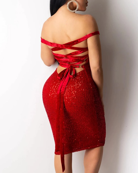 Sequined Bandage Bodycon Dress 4