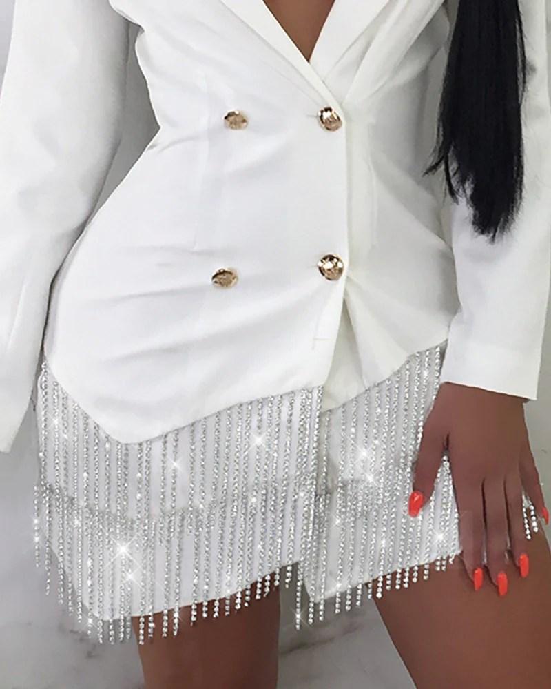 Tassel Double Breasted Blazer Dress