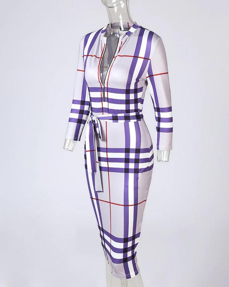 Grid Print Zip Front Midi Dress