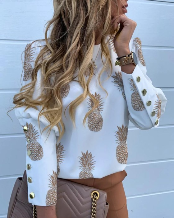 Pineapple Print Metal Buttoned Detail Casual Blouse 1