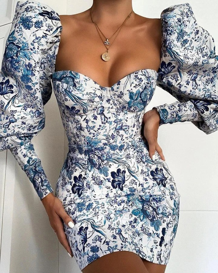 Random Print Puff Sleeve Bodycon Dress 7