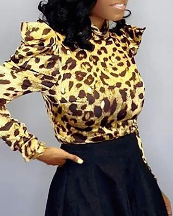 Leopard Long Sleeve Casual Blouse 3