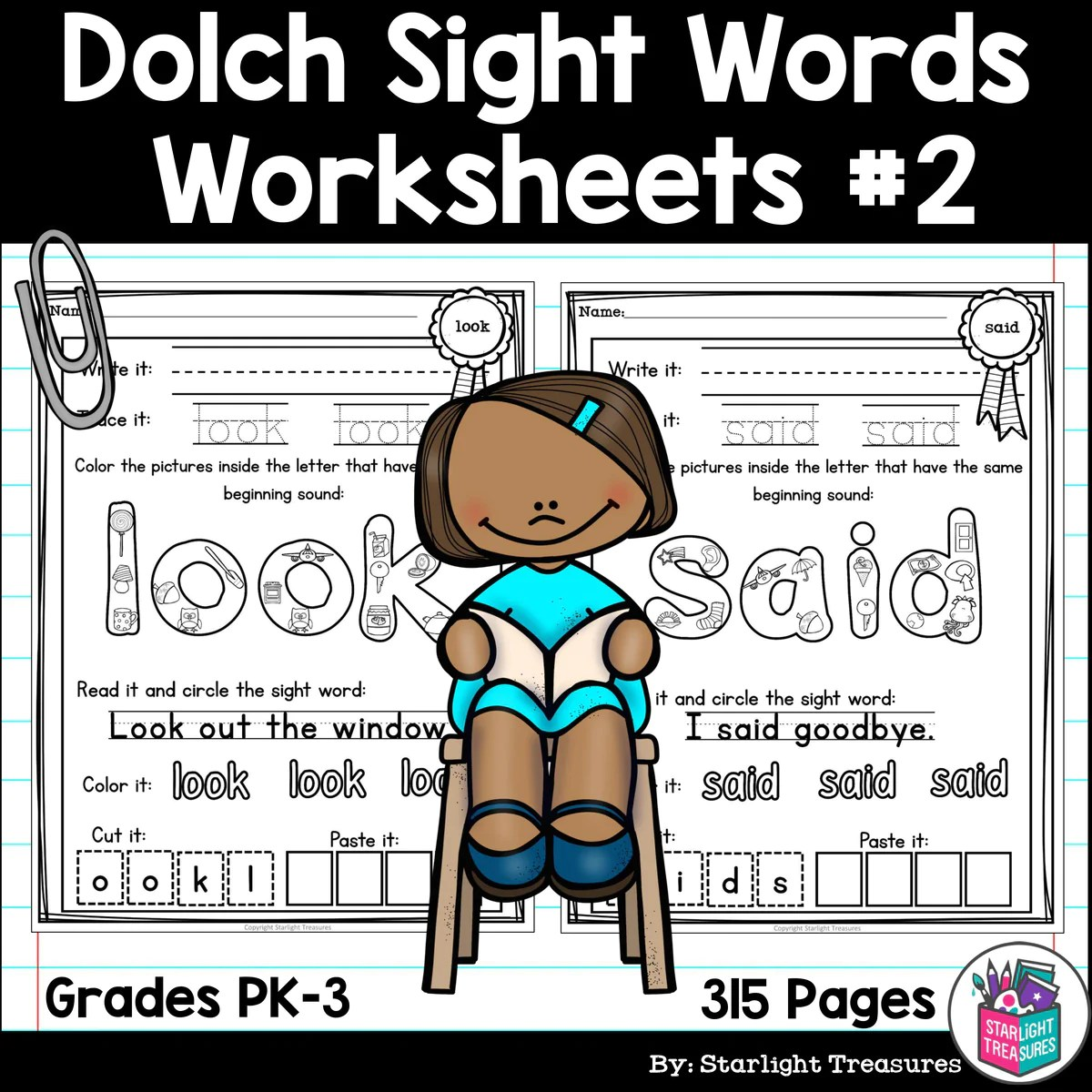 Dolch Sight Words Worksheets and Activities for Early Readers #2 –  Starlight Treasures Resources [ 1200 x 1200 Pixel ]