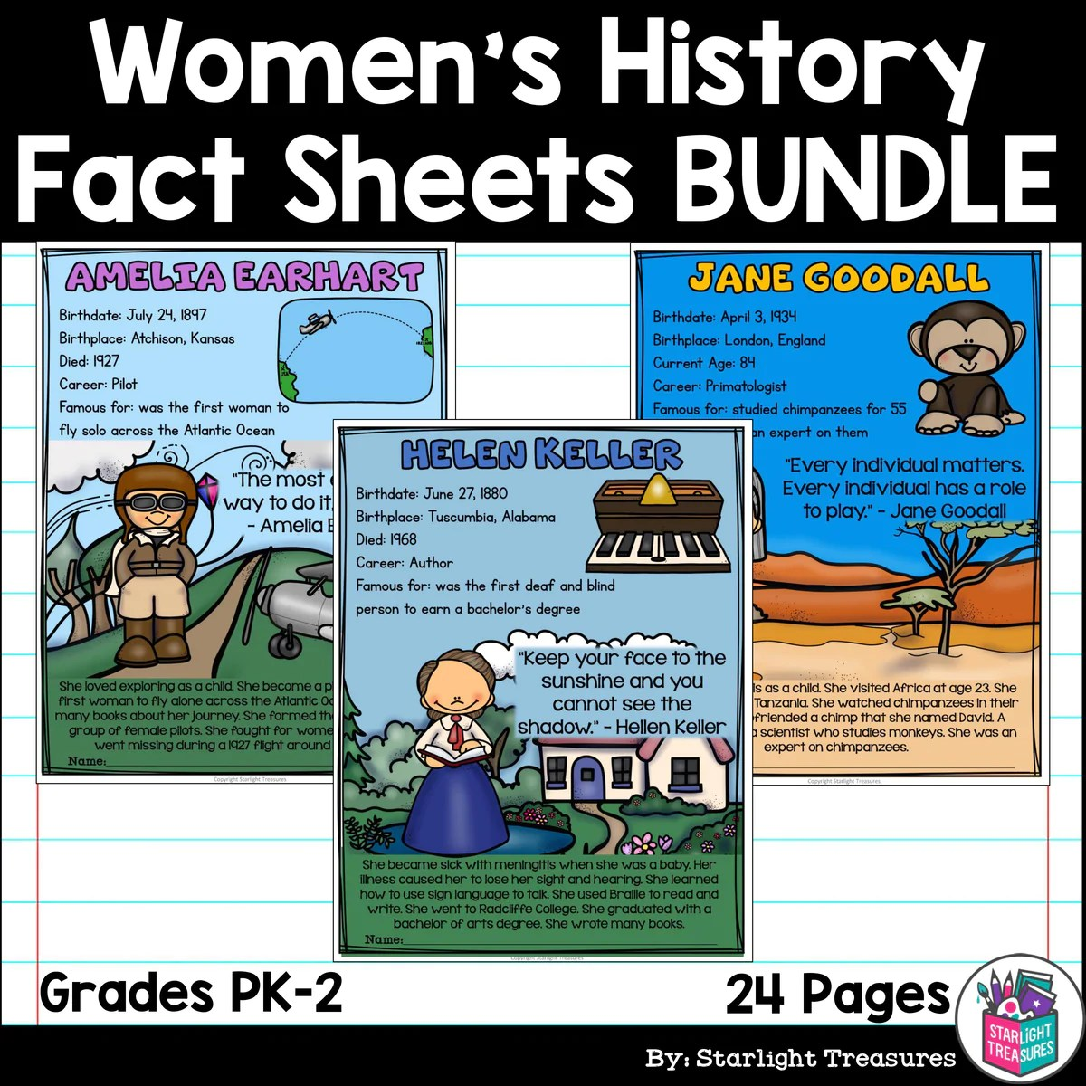 hight resolution of Women's History Month Fact Sheets for Early Readers – Starlight Treasures  Resources