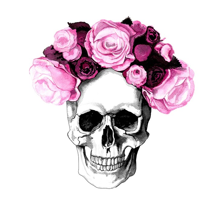 Skull Flowers Art Print Kink Ink
