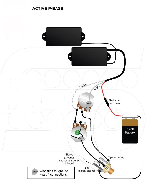 wiring harness for fender pbass active pickups emg