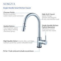 Kitchen Faucet Spout Metal Shelf Modern Smart Touch With Pull Down Sprayer Aosgya