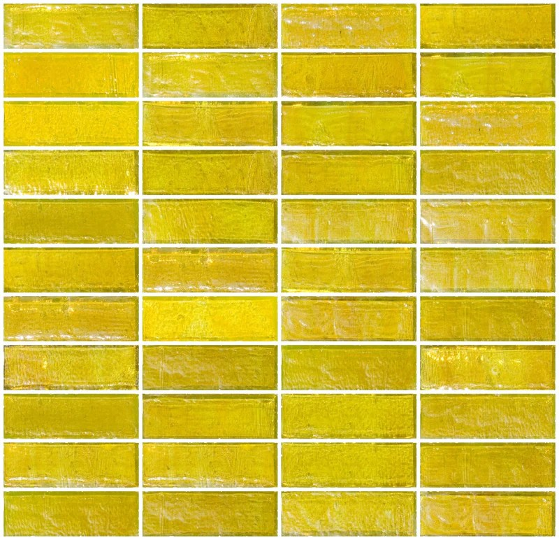 1x3 inch sunshine yellow iridescent glass subway tile stacked