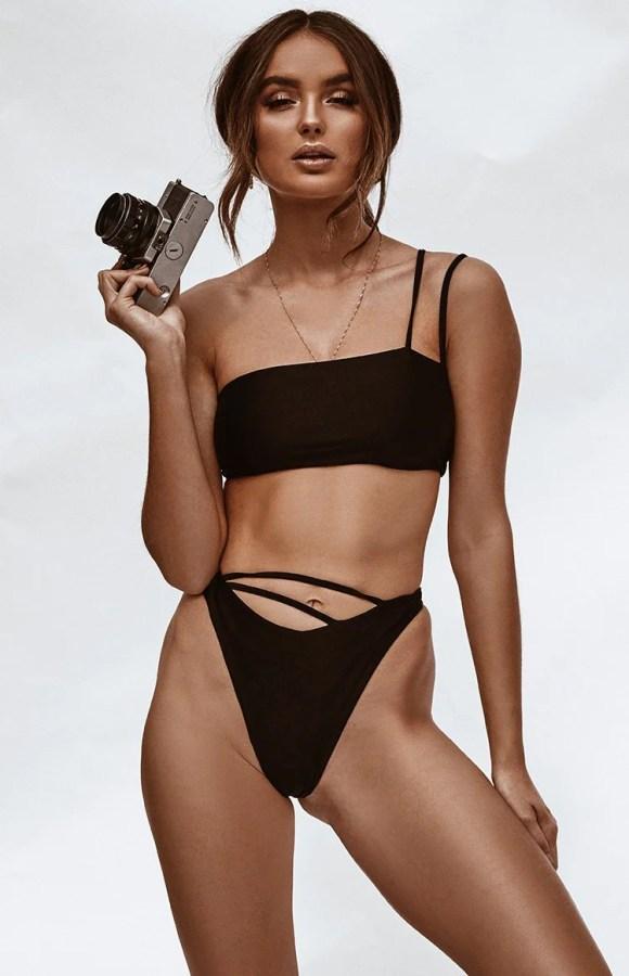 9.0 Swim Murano High Waist Bikini Bottoms Metallic Black