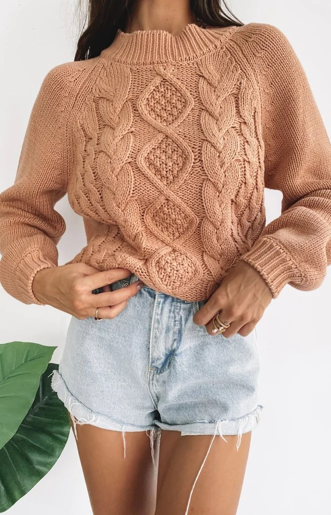 Breaker Knitted Winter Sweater Tan 6