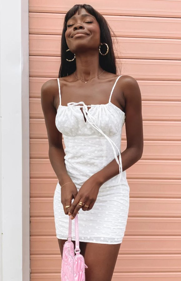 Believe In You Anglaise Mini Dress White