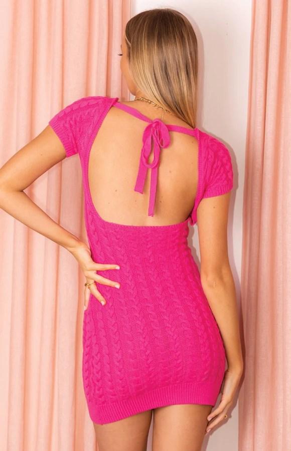 Cable Mini Dress Pink